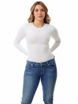Picture of Womens Ultra Light Cotton Spandex Compression Crew Neck Top Long Sleeves