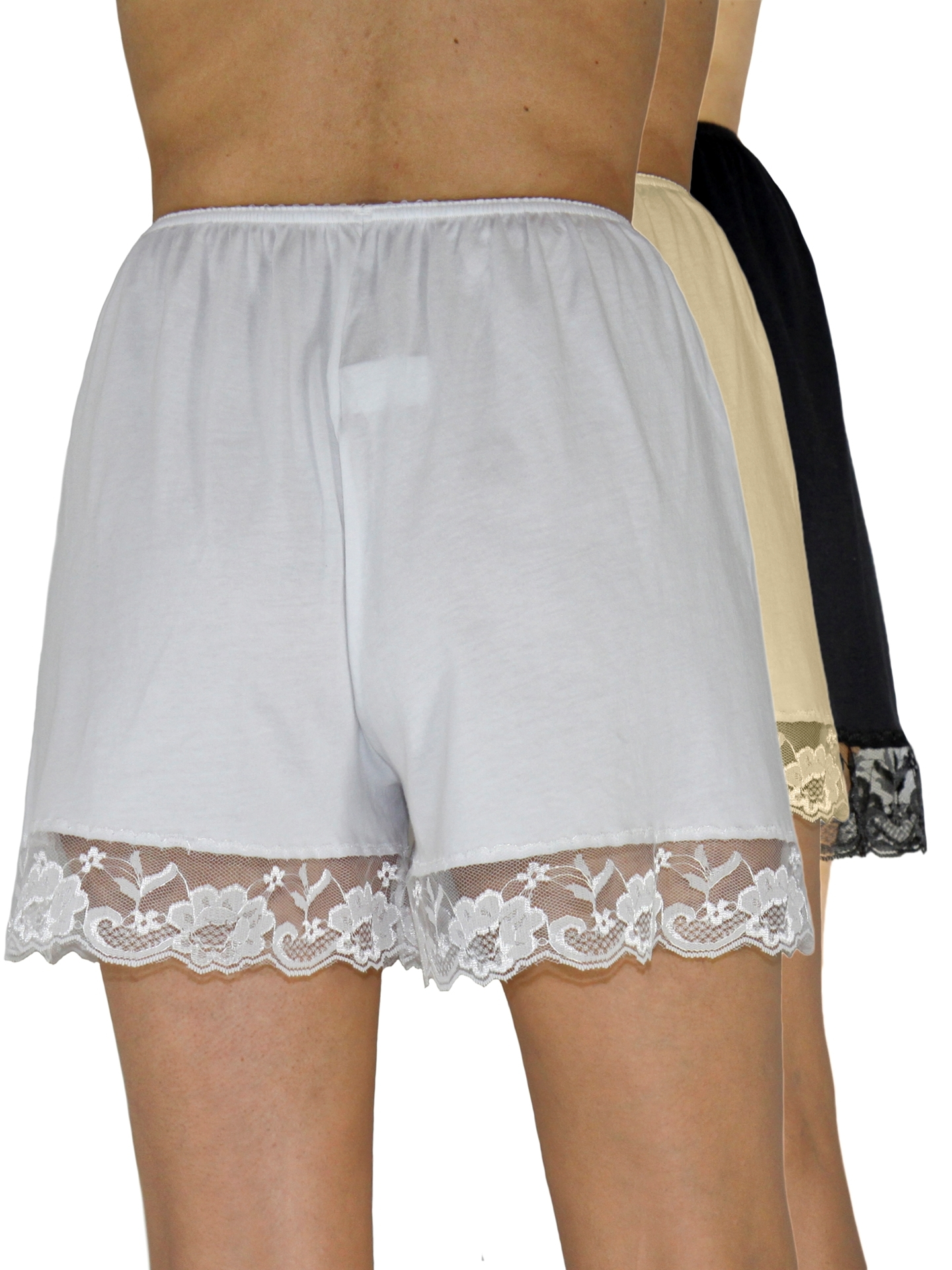 Picture of Pettipants Cotton Knit Culotte Slip Bloomers Split Skirt 4-inch Inseam 3-Pack