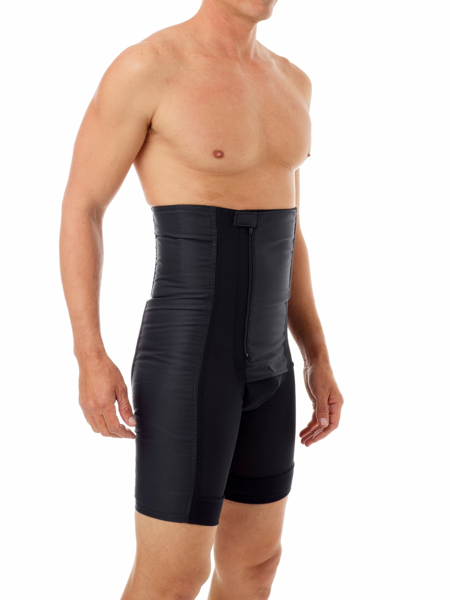 Mens shapewear helps tone and flatten your stomach and thigh areas