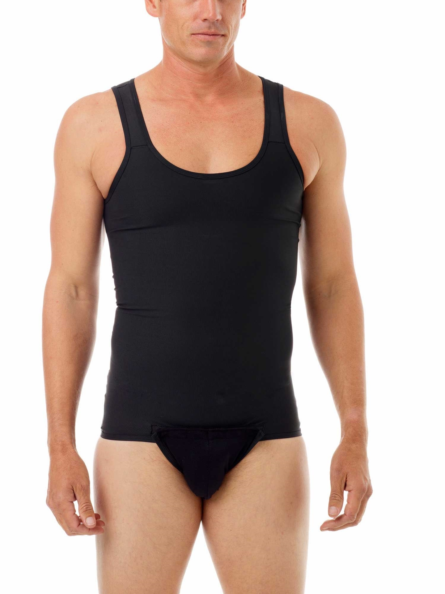 Black Compression Gynecomastia Tanksuit for men