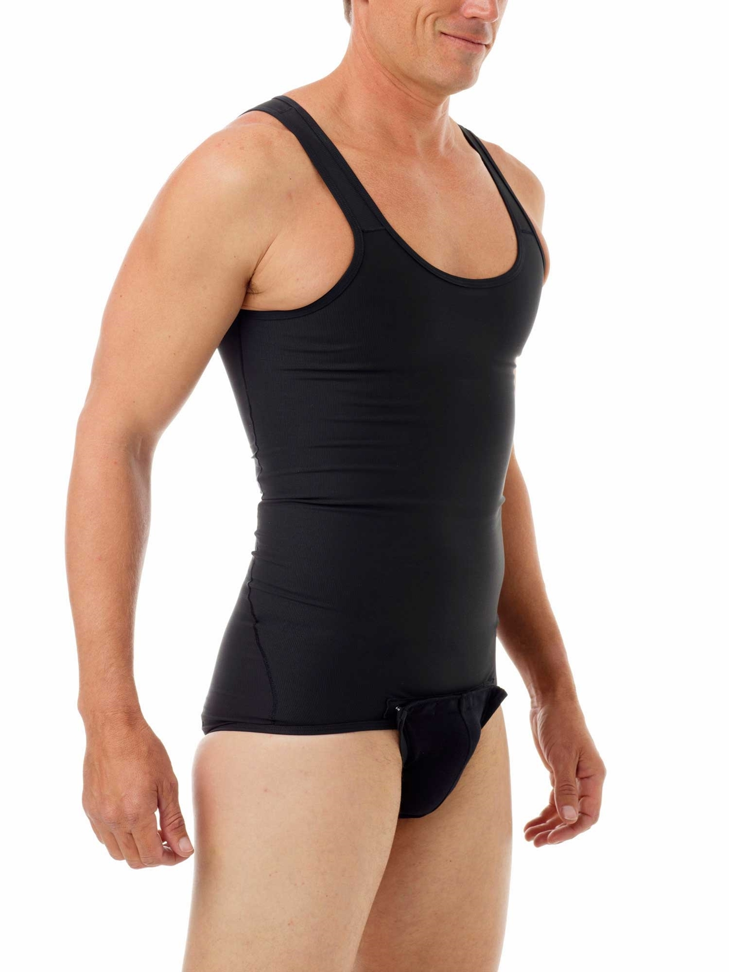 Black Shapewear Shaping Compression Tanksuit for men
