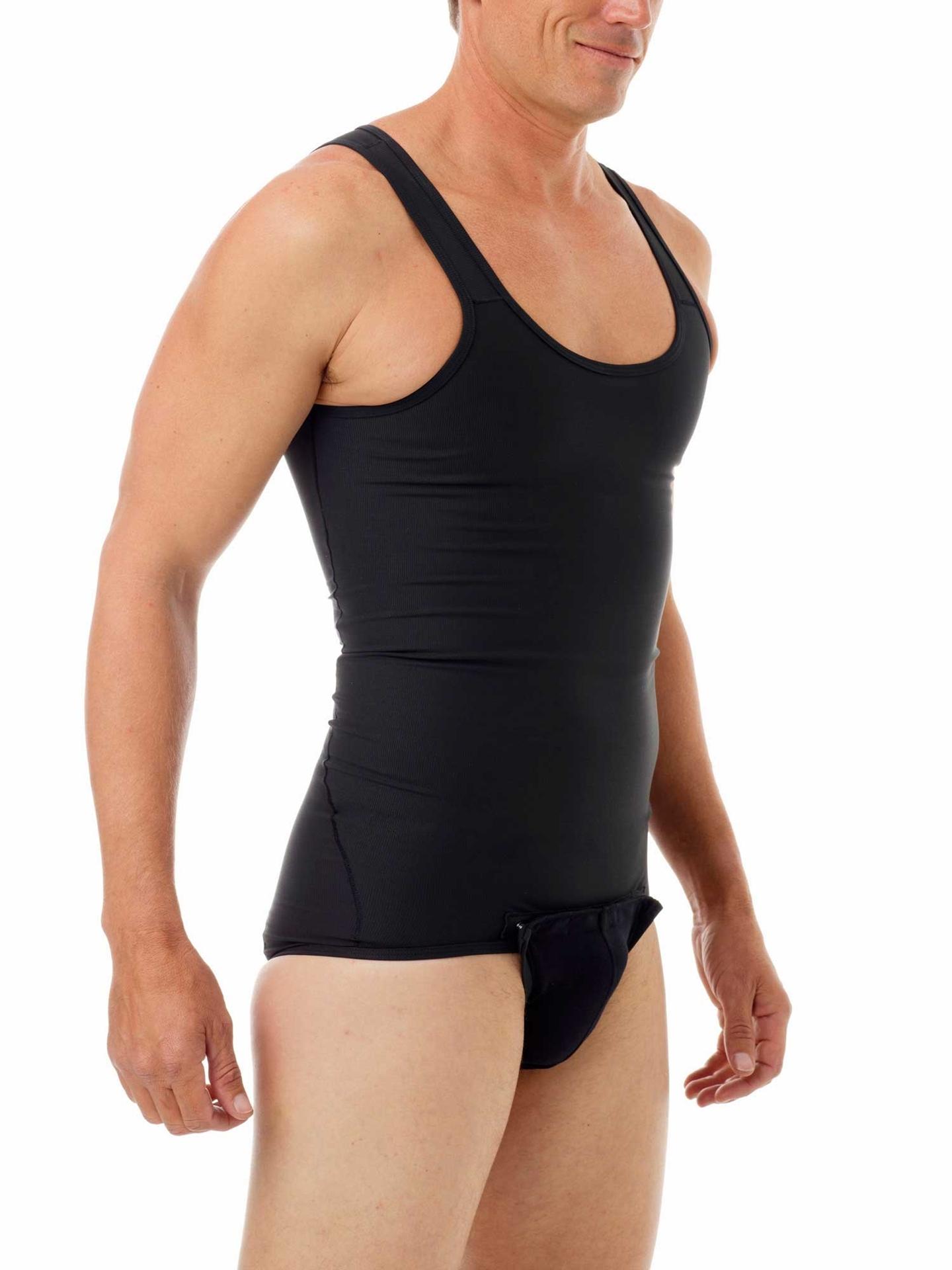 Black Shapewear Shaping Compression Tanksuit for men